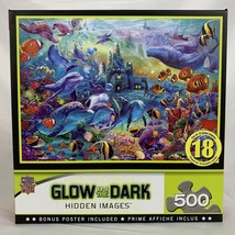Masterpieces Jigsaw Puzzle 500 Pieces Glow in the Dark Dolphin Castle Sea Life - $15.40