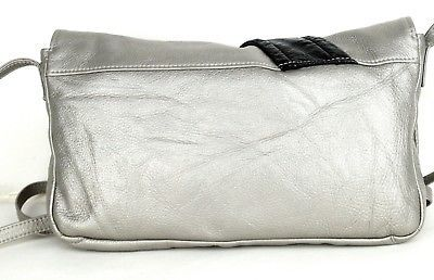 Authentic Chloe Silver Leather Hand Bag Shoulder bag Purse 031095
