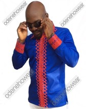 Odeneho Wear Men's Blue Polished Cotton Top/Red Embroidery. African Clothing - $79.99