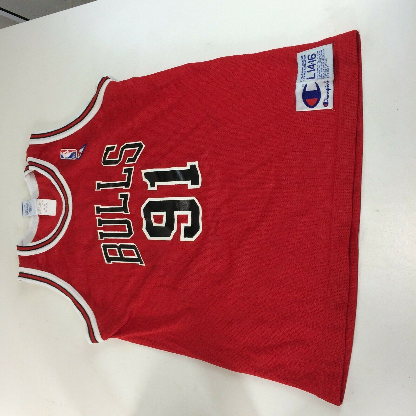 Primary image for Vintage Chicago Bulls Dennis Rodman Champion Jersey NBA 90s Youth Large 14 - 16