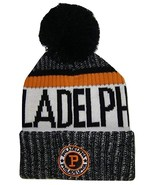 Philadelphia Men's Winter Knit Landmark Patch Pom Beanie (Black/Orange) - $13.89