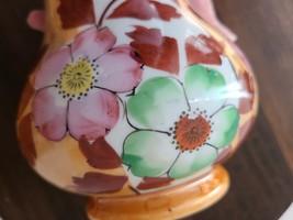 Vintage Lusterware Peach and White Floral Vase, Handpainted Japan image 3