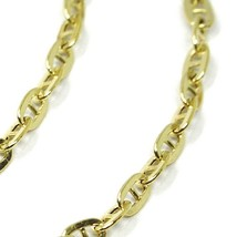 9K YELLOW GOLD CHAIN MARINER FLAT OVAL LINK 2.7 MM THICKNESS, 16 INCHES, 40 CM image 2