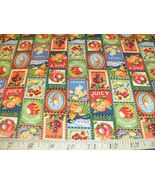 Fresh Pickins Fabric Blocks Patches Fruit Apples Grapes Oranges Cherry P... - $7.99