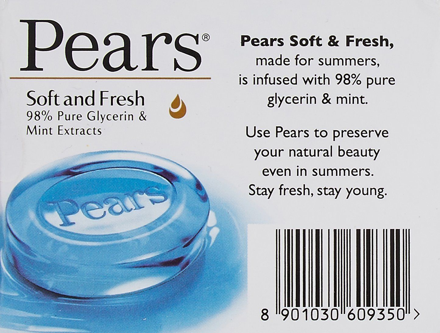 Pears Soft Fresh Soap glycerin extracts Moisturizes skin  5 pack X 75 gm