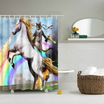 LFH Personalized Funny Unicorn cat Shower Curtain Shower Rings 100% Polyester Wa - $32.95