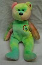 """Ty Beanie Baby Peace The TIE-DYED Teddy Bear 8"""" Bean Bag Stuffed Animal Toy 1996 - $14.85"""