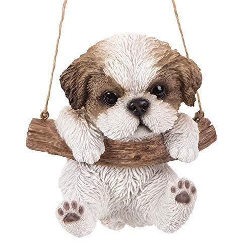 Primary image for Pacific Giftware Realistic Shih Tzu Puppy Hanging from Branch Rope Hanger Statue