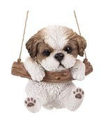 Pacific Giftware Realistic Shih Tzu Puppy Hanging from Branch Rope Hange... - $24.74