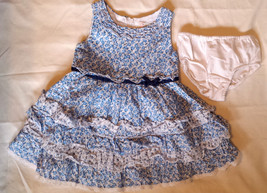 Girl's Size 12-18 M Months Children's Place Blue & White Ruffled Floral Dress DC - $17.00