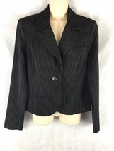 Xhilaration Black Pinstripe One Button Blazer Size Medium M Unlined - $16.78