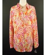 CHAPS Size 3X New Long Length Floral Georgette Shirt Blouse Button Down ... - $22.99