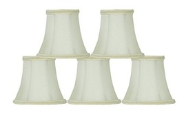 Urbanest Set of 5 Eggshell with Lace Trim Silk Bell Chandelier Lamp Shade, 3-inc - $30.68