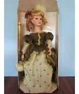 "Fine porcelain 15"" collector's choice doll blonde hair green dress w/box - $24.26"