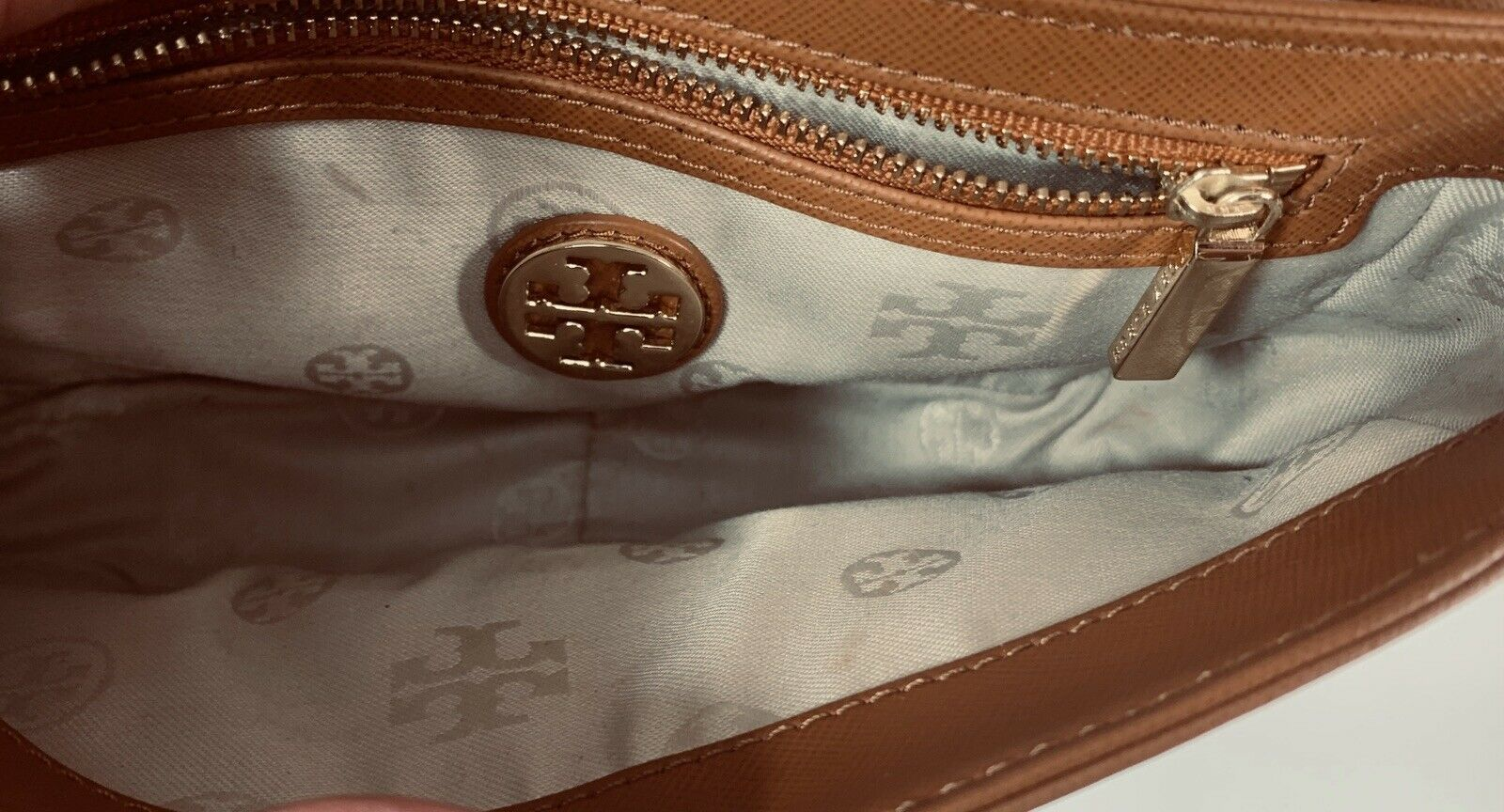 Tory Burch Robinson Chain Strap Tiger's Eye Brown Leather Crossbody Bag image 3
