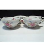 4 Vintage Schaller Bavaria Dresden Flower Coffee / Tea Cups - $11.99