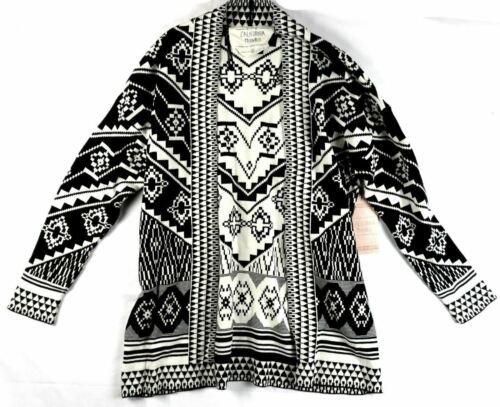 Small Women's California MoonRise Open Front Cardigan Sweater Geo Print NEW