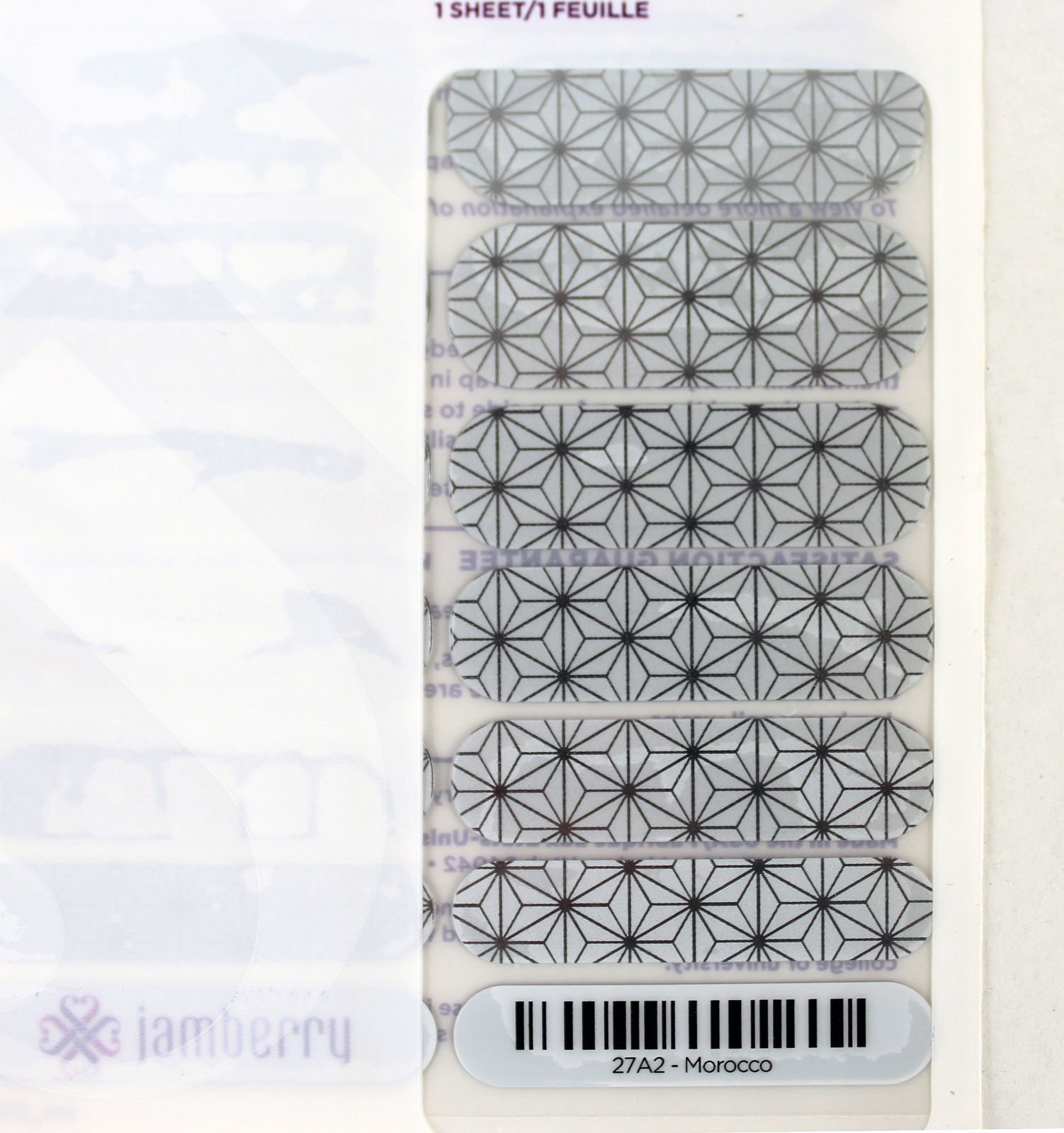 Jamberry Morocco 27A2 Nail Wrap (Full Sheet) 18 pieces 2 of each size