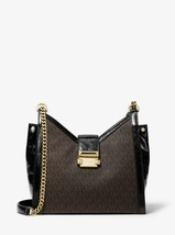 MICHAEL MICHAEL KORS Whitney Small Logo and Leather Shoulder Bag Brown - $217.80