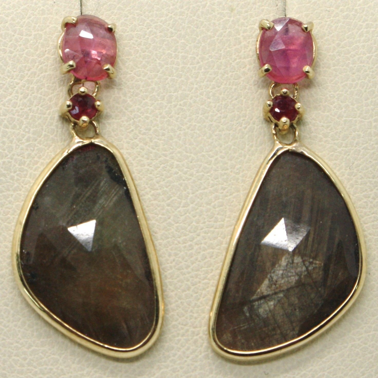9K YELLOW GOLD PENDANT EARRINGS, DROP BROWN & OVAL PINK SAPPHIRE, RED RUBY