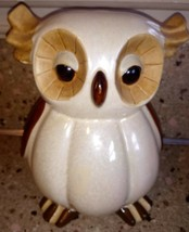 Shiny Fat Owl Figurine Brown Ceramic - $34.64