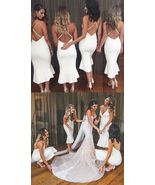 Sexy Backless White Satin Mermaid Bridesmaid Dresses Tea Length Party Go... - $92.09