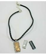 Avon Interchangeable Pendant on Cord Goldtone Silver Black Marble 2004  - $15.29