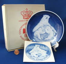 Bing And Grondahl Mothers Day Plate 1974 Mother Bear And Cub Boxed Blue White - $18.00