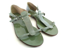J. Crew Womens Size 7 Green T-strap Casual Fashion Flats Buckle Sandals - $40.19