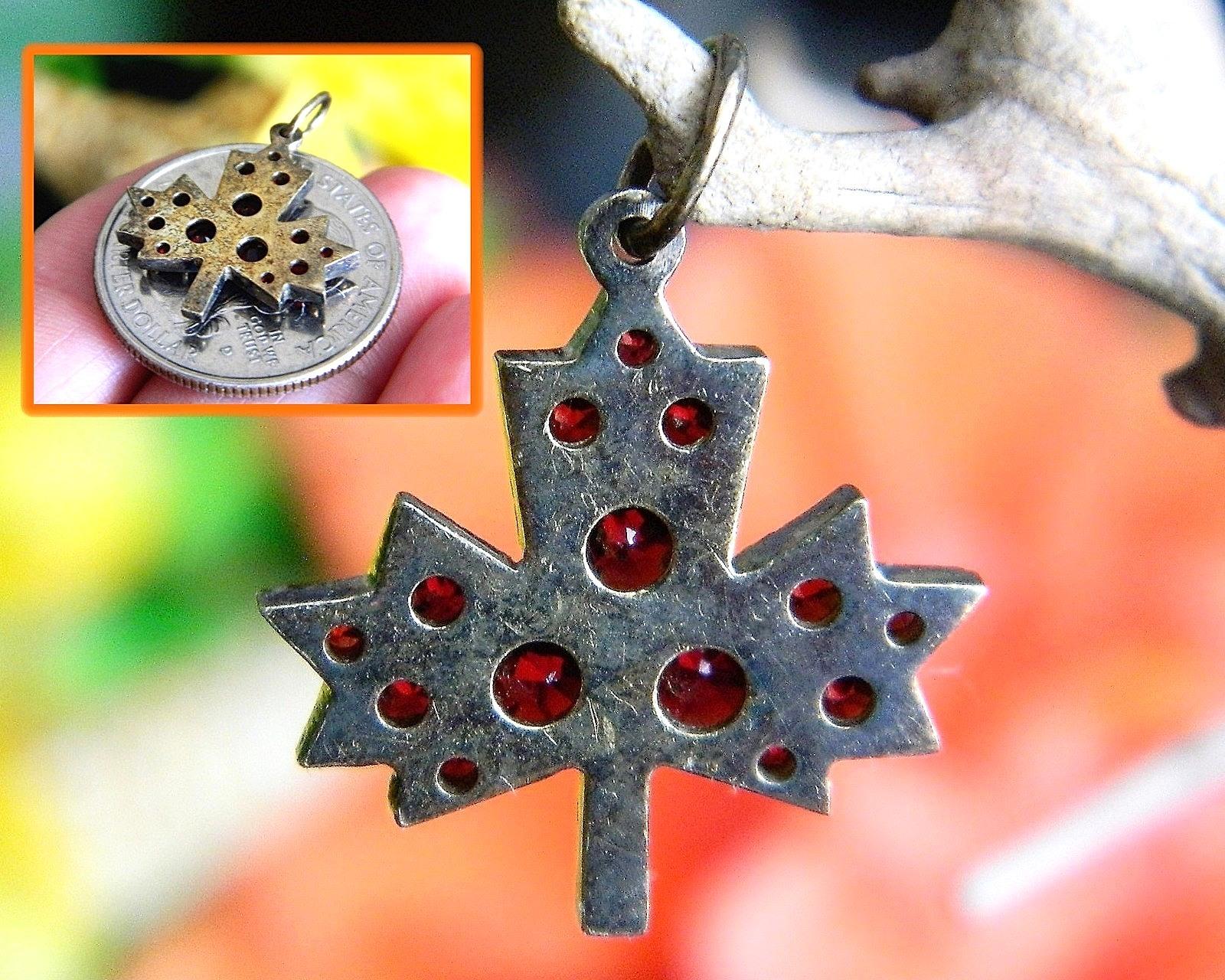 Vintage Bohemian Czech Red Garnet Maple Leaf Miniature Pendant Charm