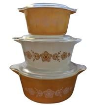 PYREX GOLDEN BUTTERFLY CINDERELLA CASSEROLE SET 471 472 473 w/LIDS - $89.09