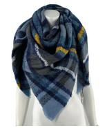Apt 9 Square Blanket Scarf Blue Gold Plaid Boucle Fringe Womens NEW - $19.80