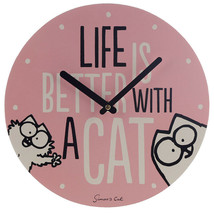 Decorative Simon's Cat Slogan Picture Wall Clock Wooden Round Pink - $20.14