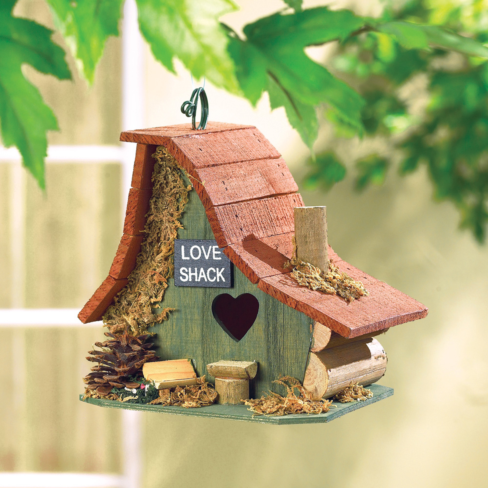 Birdhouse: Rustic Love Shack Hanging Wood Cabin Bird House with Clean Out Access