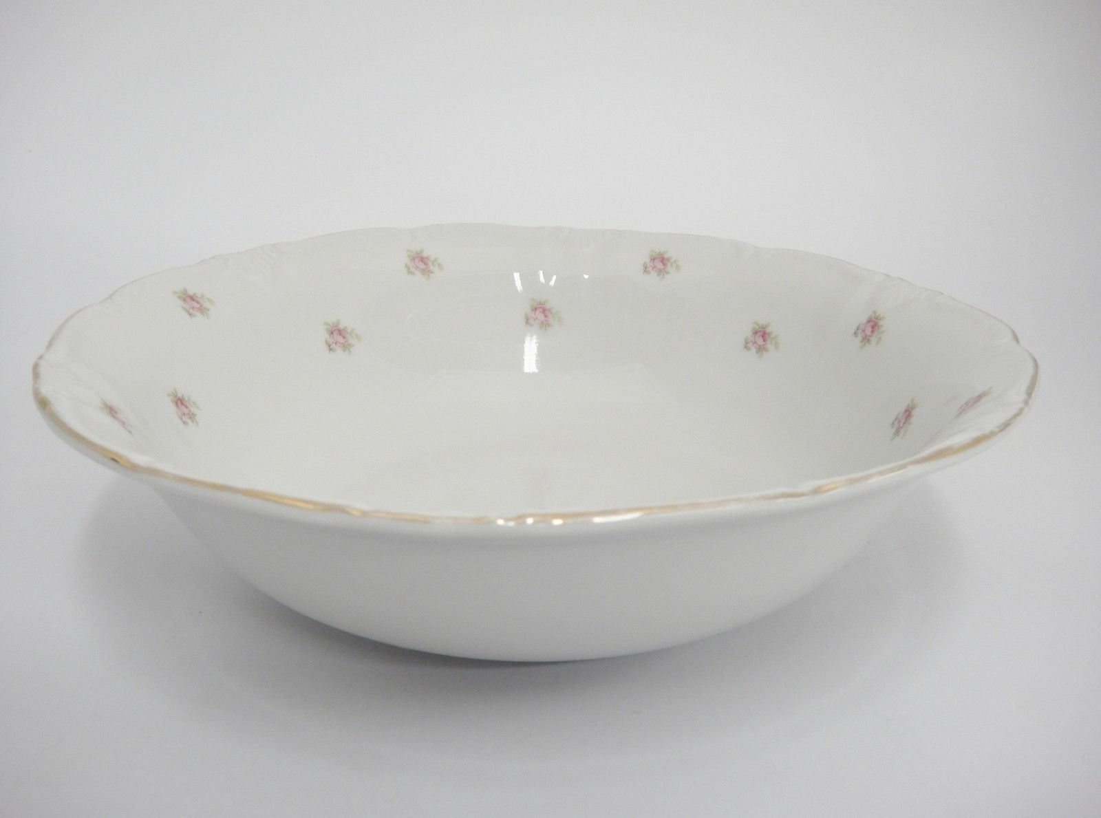 "Vintage Winterling Rosedot 9"" Round Vegetable Serving Bowl Pink Roses Bavaria image 6"