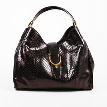 "Gucci Metallic Purple Python Snakeskin Medium Top Handle ""Soft Stirrup"" ... - £1,022.32 GBP"