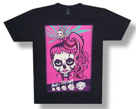 Lady Gaga-Pink Hair Skull Cartoon-Born This Way 2013 Tour-Black  T-shirt - $17.99