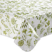 Flowing Flowers Vinyl Tablecovers By Home-Style Kitchen-60X120OBLONG-SAGE - $19.39