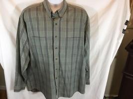 Van Heusen Mens L Tall Button Up Shirt Green Black Plaid Wrinkle Free Lo... - $13.99