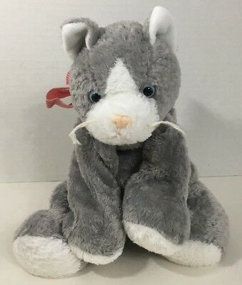 Mary Meyer flip flops Gray White Kitty Cat Plush red bow stuffed animal