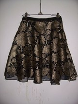 New Anthropologie 2 Eva Franco Black/Gold Lace Gilt Bouquet Organza Skirt - $84.14