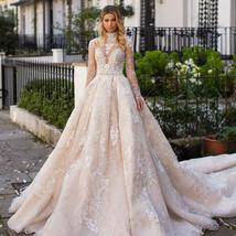 New Top Celeb Luxury A-Line Princess Ball Gown Long Sleeve Lace Appliques High D