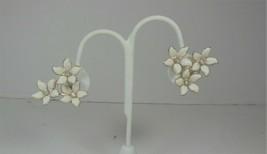 White Lucite & Rhinestone Flower Earrings - $10.88