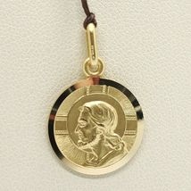 SOLID 18K YELLOW GOLD JESUS CHRIST REDEEMER 13 MM MEDAL, PENDANT, MADE IN ITALY image 3
