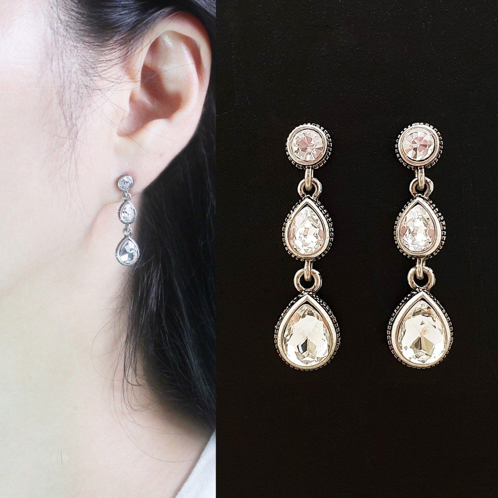 Tiered Round Water Drop Teardrop Shape Made With Swarovski Stone Dangle Earrings
