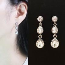 Tiered Round Water Drop Teardrop Shape Made With Swarovski Stone Dangle Earrings image 1