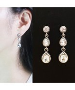Tiered Round Water Drop Teardrop Shape Made With Swarovski Stone Dangle ... - $23.36