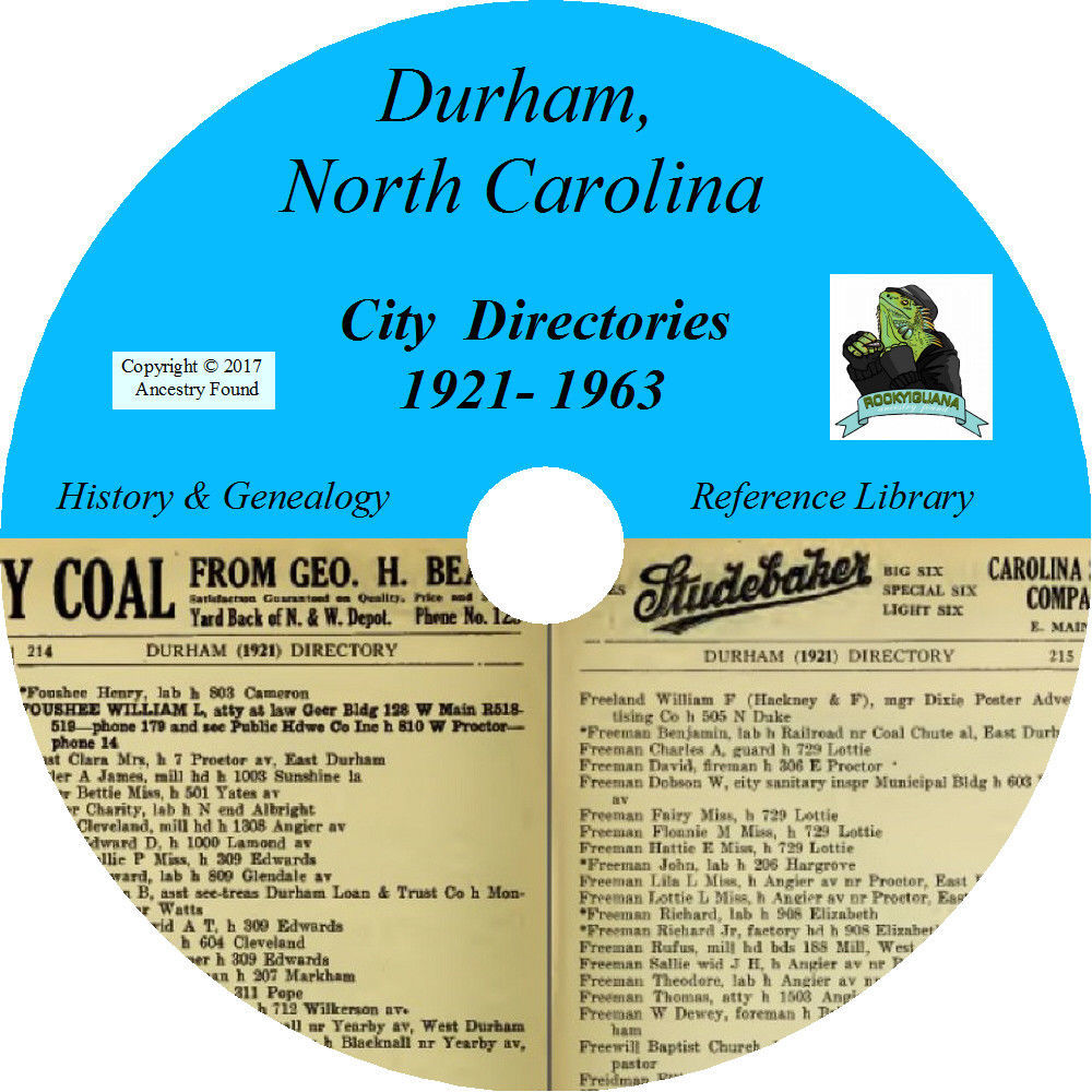 DURHAM North Carolina CITY DIRECTORY - History & Genealogy - 30 Books on CD DVD