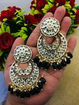 kundan Beautiful unique antique rajwadi earrings bridal wedding gold pla... - $29.69