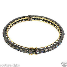 14k Gold Genuine Labradorite Gemstone Diamond Pave Bracelet 925 Sterling... - $1,313.88